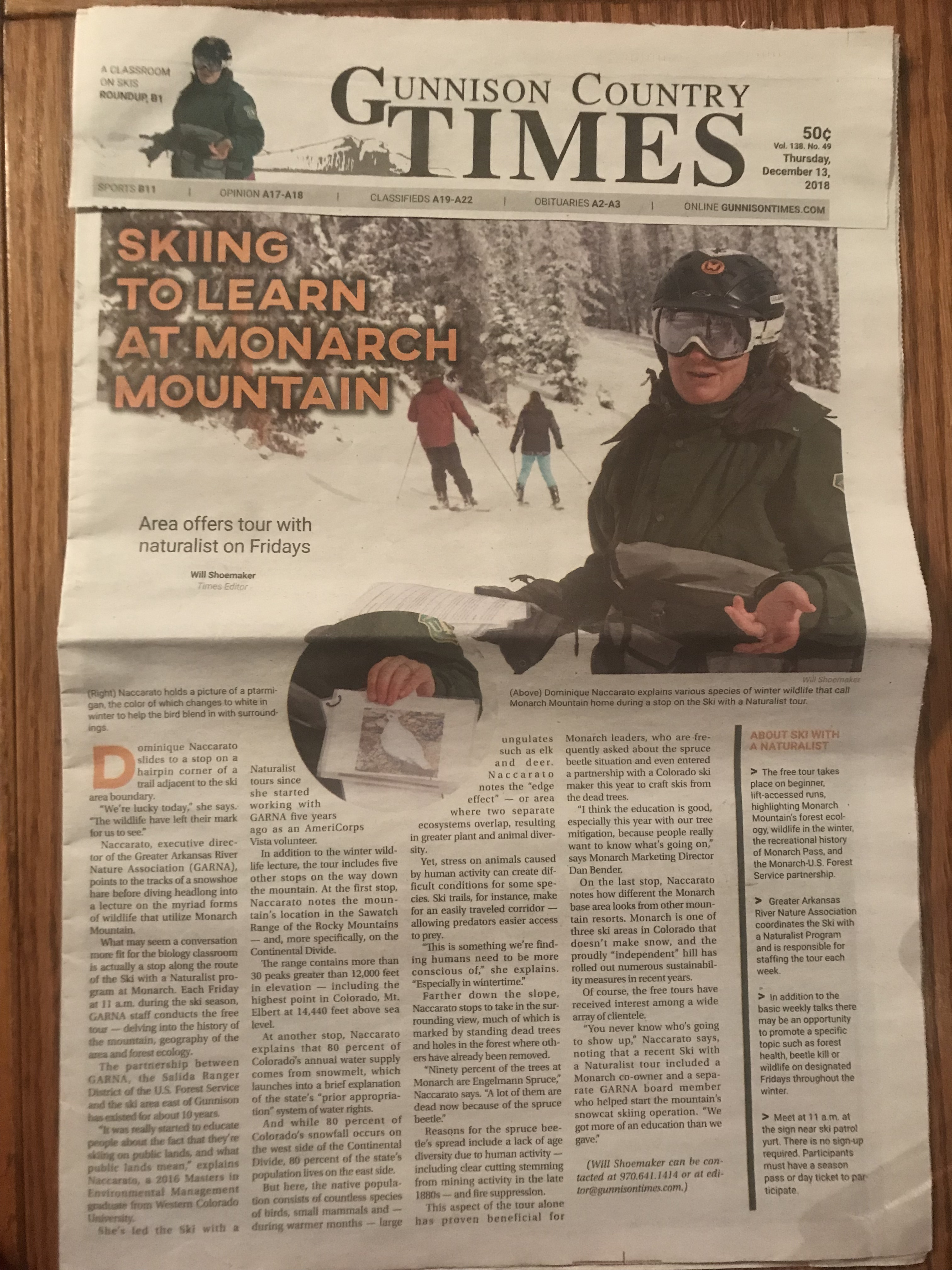 GARNA Director featured in Gunnison Country Times